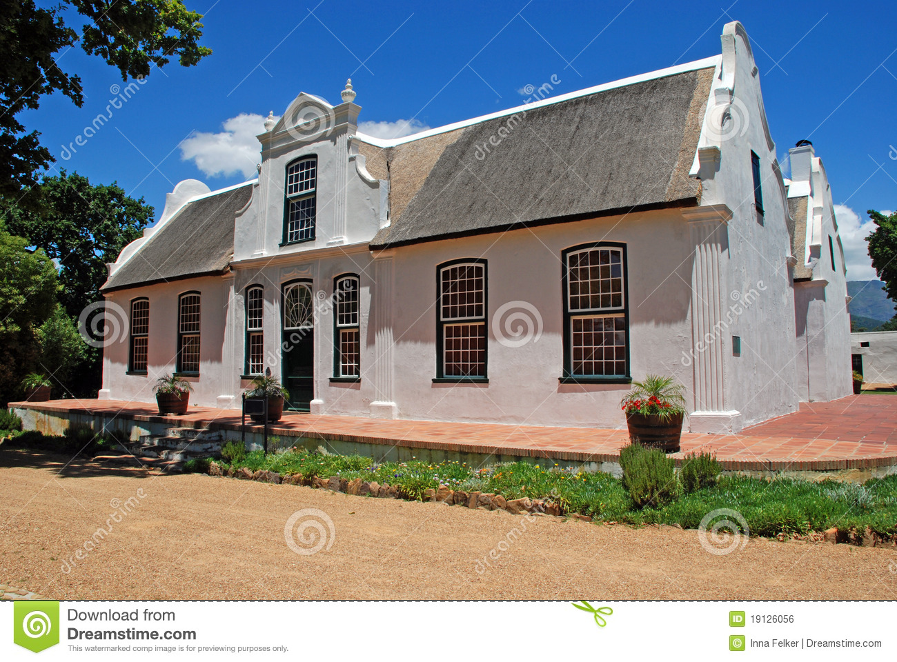 Wine Farmhouse In Colonial Style South Africa Stock