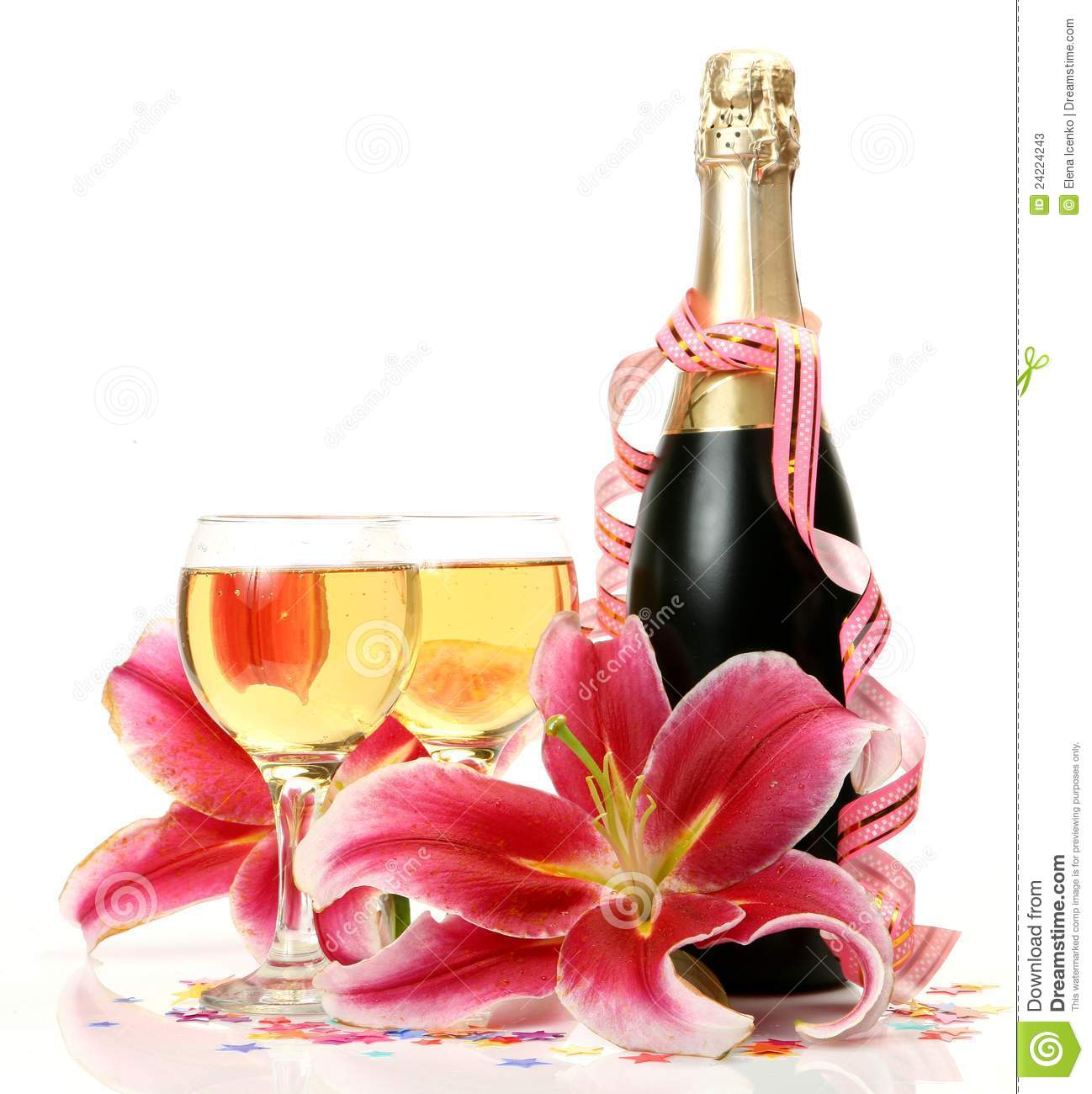 Wine And Flower Stock Photos Image 24224243