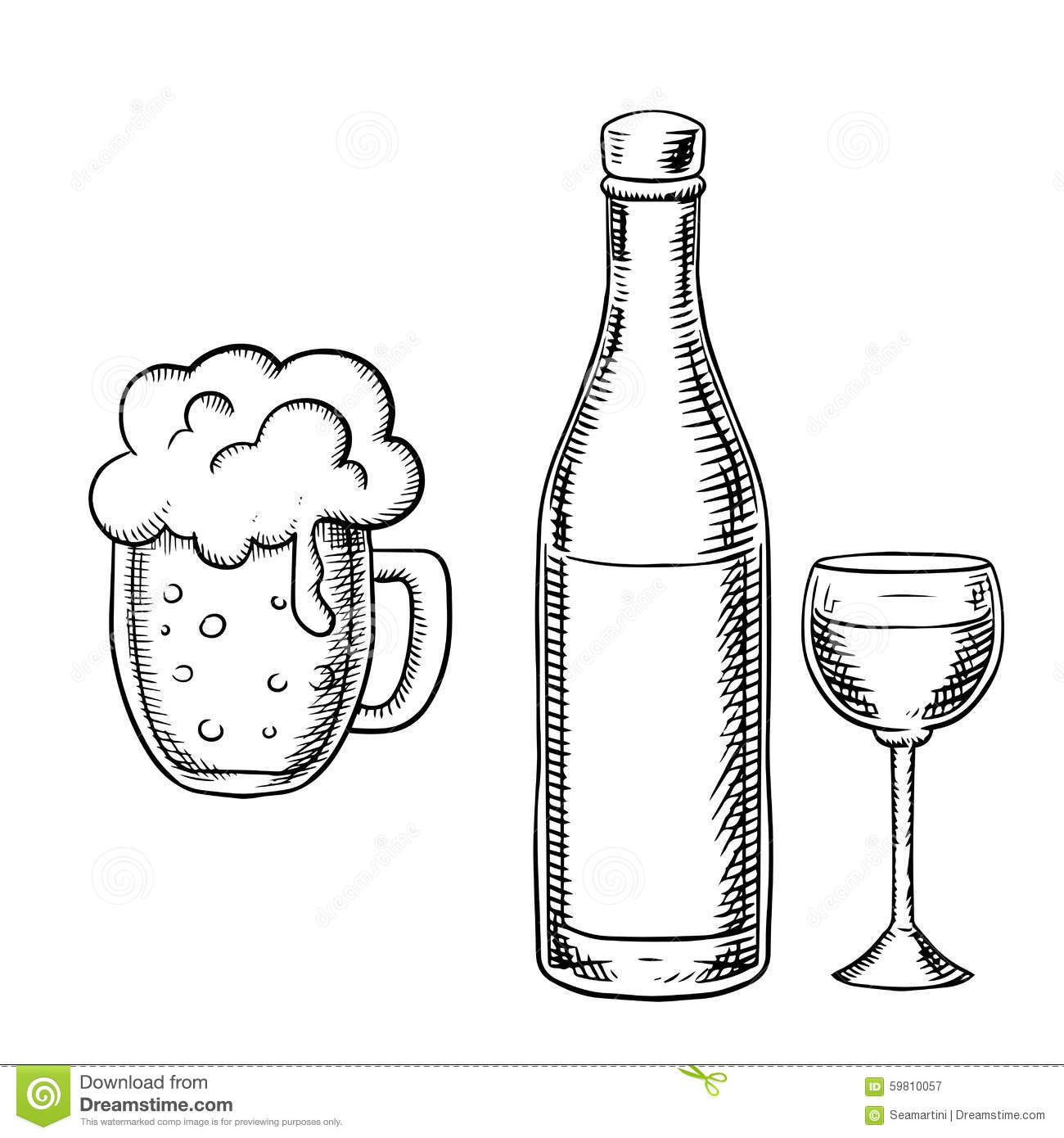 One Line Art Beer : Wine glass bottle and beer tankard stock vector image
