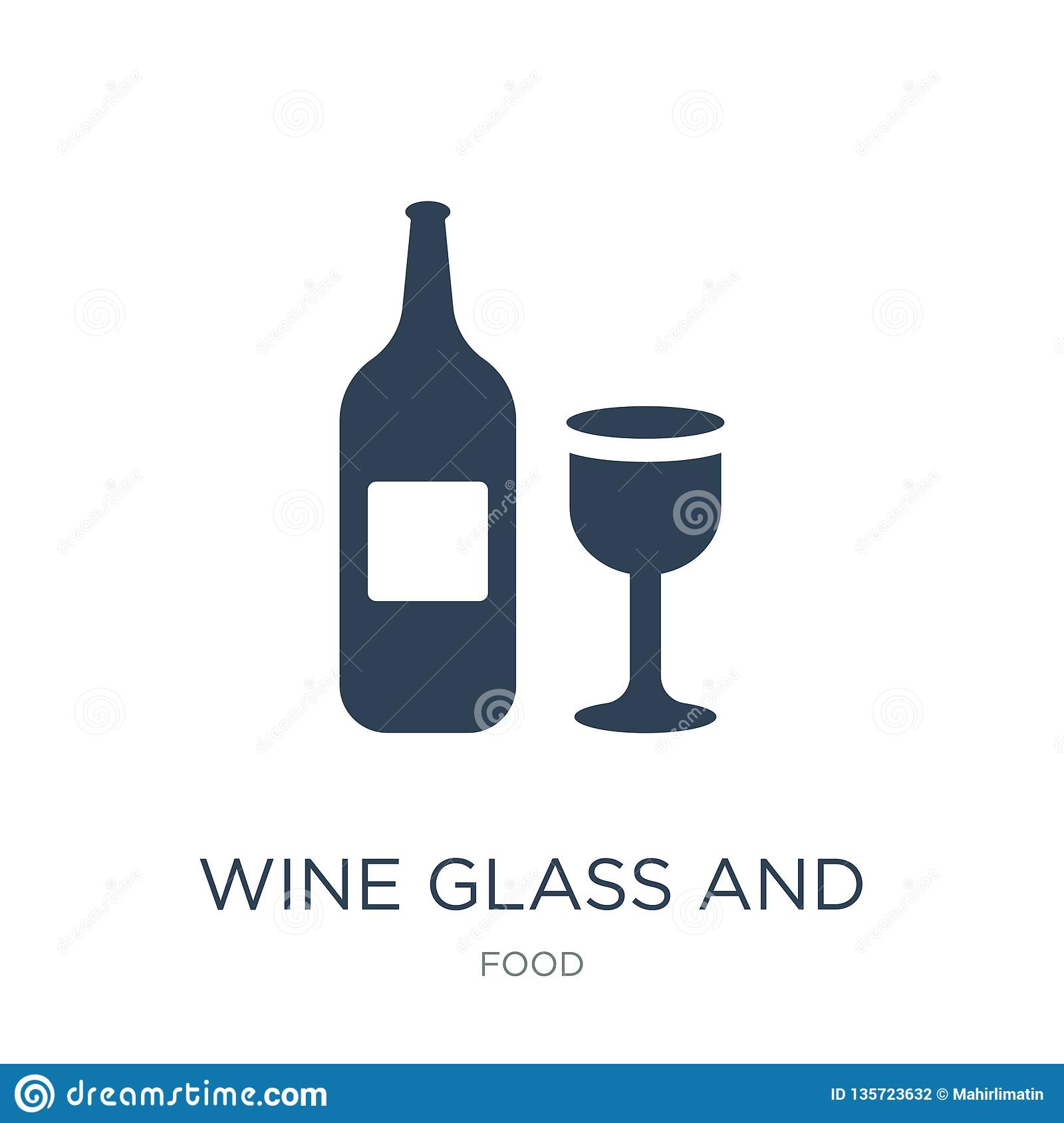 wine glass and bottle icon in trendy design style. wine glass and bottle icon isolated on white background. wine glass and bottle