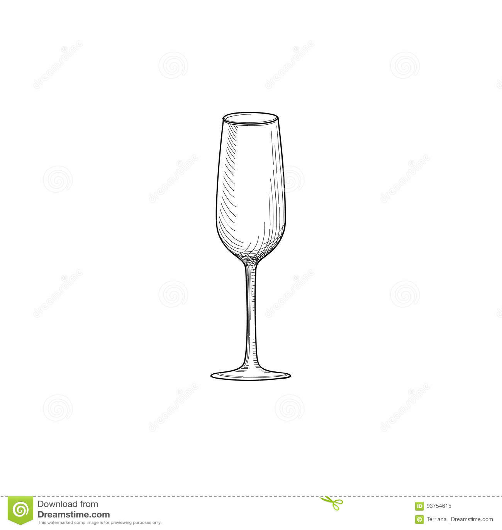 Wine Glass Engraving Illustration Of Wineglass Utensils Sketch