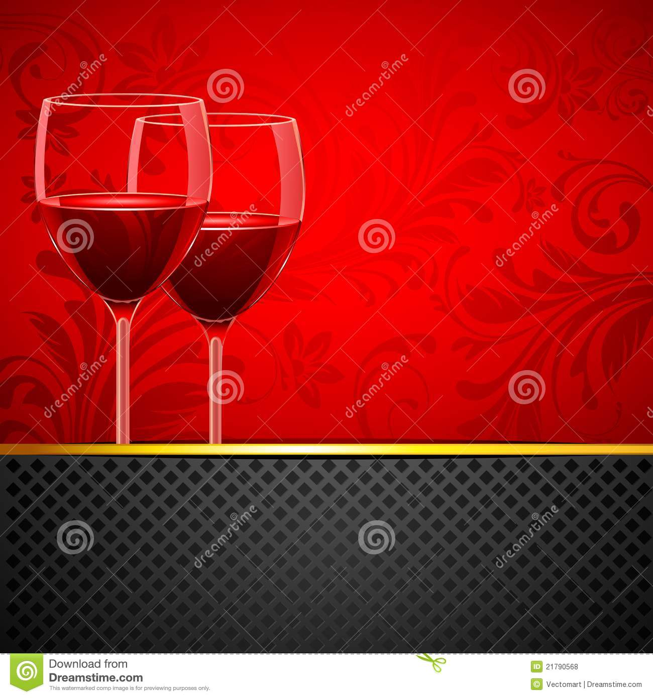 Wine Glass on Floral Background