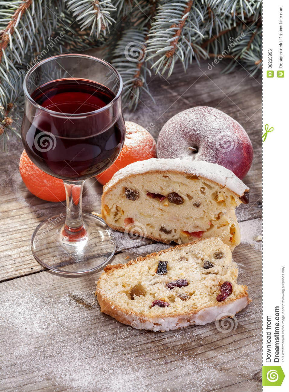 Wine Glass With Fruit Cake Stock Photo Image Of Gourmet