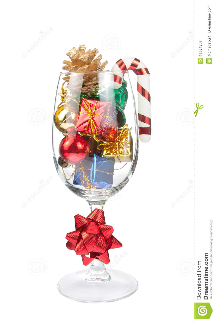 download wine glass full of christmas decorations stock image image of christmas glass