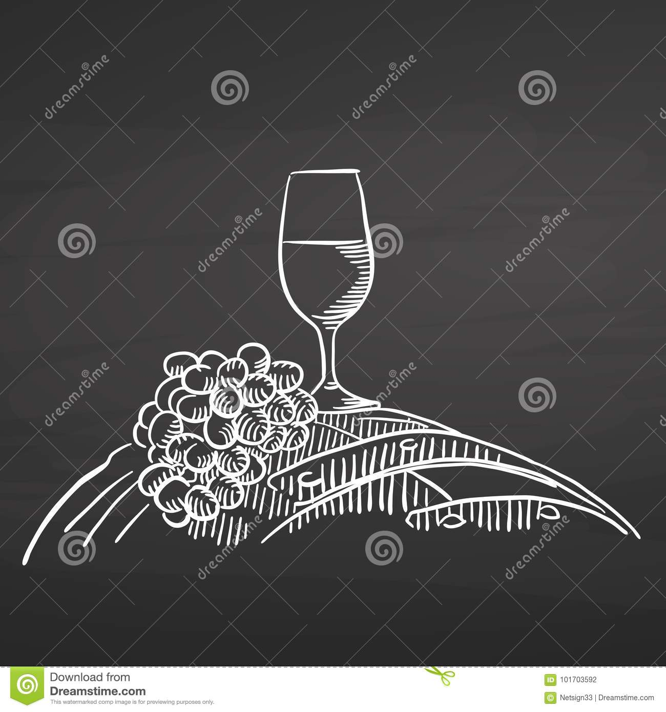 Wine glass and grapes on barrel. Chalk on chalkboard