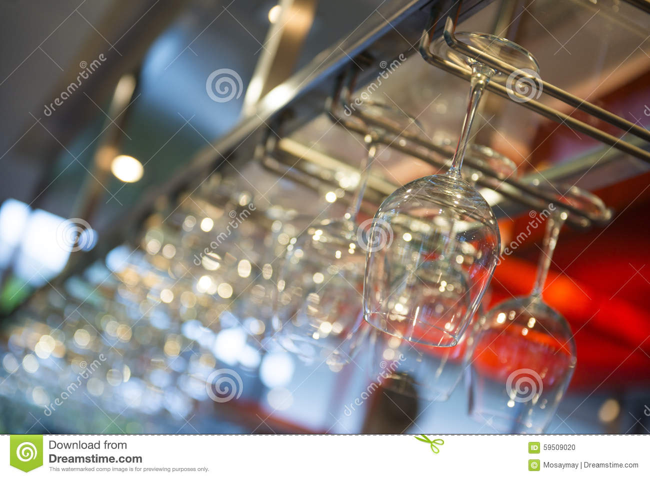 Wine Glass Hanging On The Counter In Wine Bar Stock Image - Image of ...