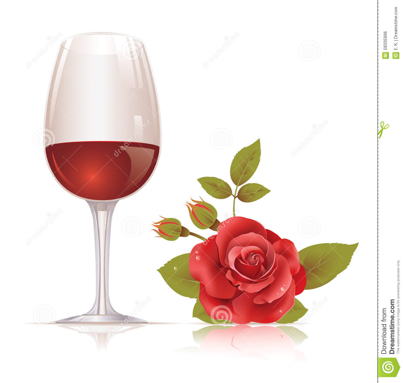 Cymk Puzzle Wine Glass And Red Rose Stock Vector Image 58335996