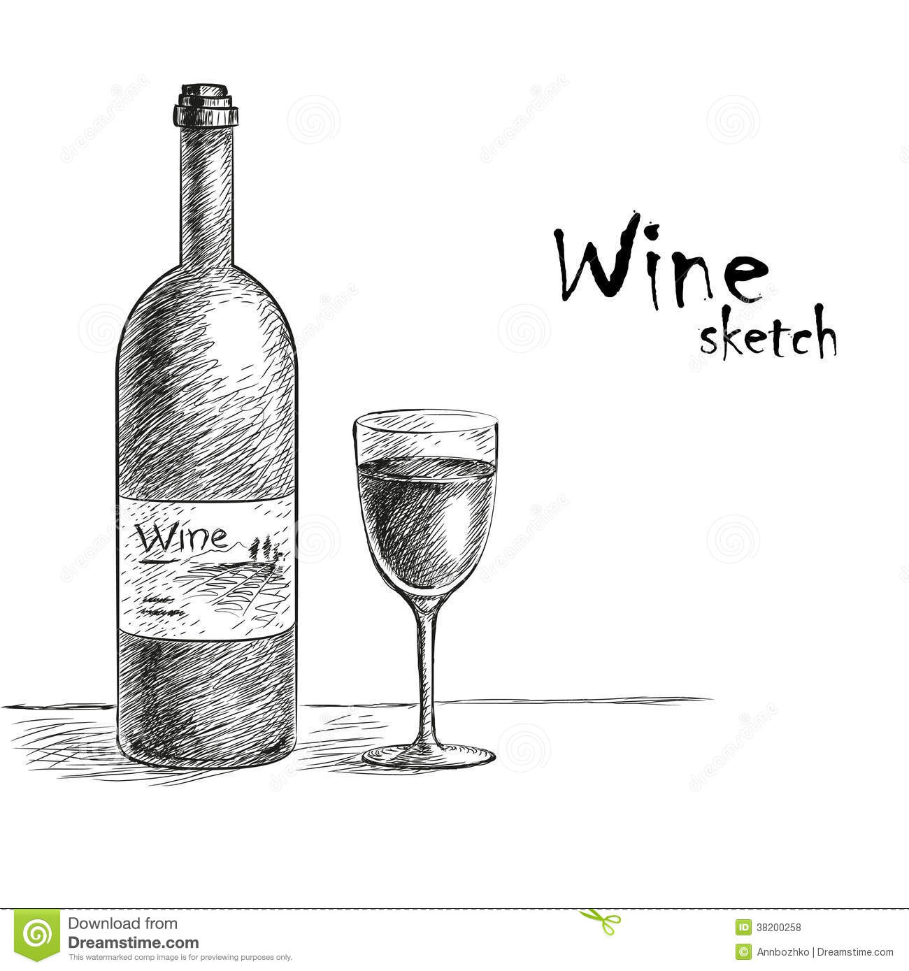 Wine and glass sketch stock vector. Image of ornate ...