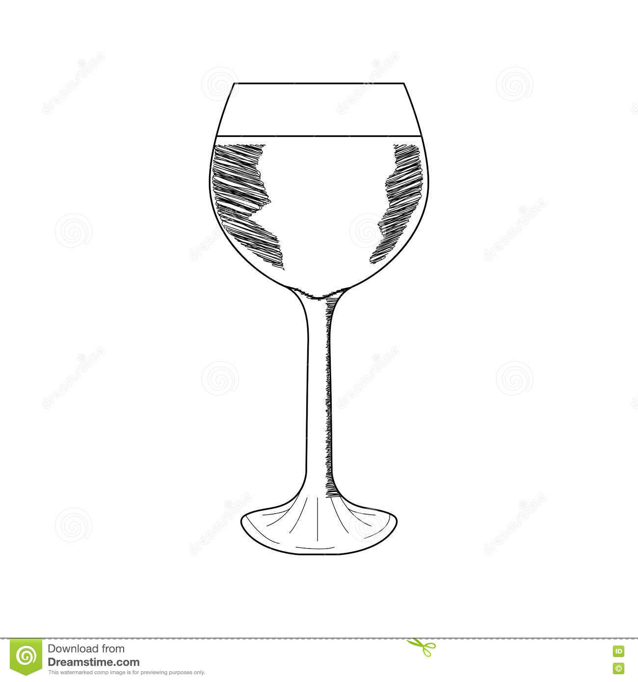 Wine glass sketch vector arrow for How to draw on wine glasses
