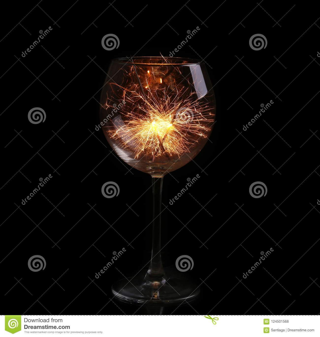 Wine glass with a sparkler.