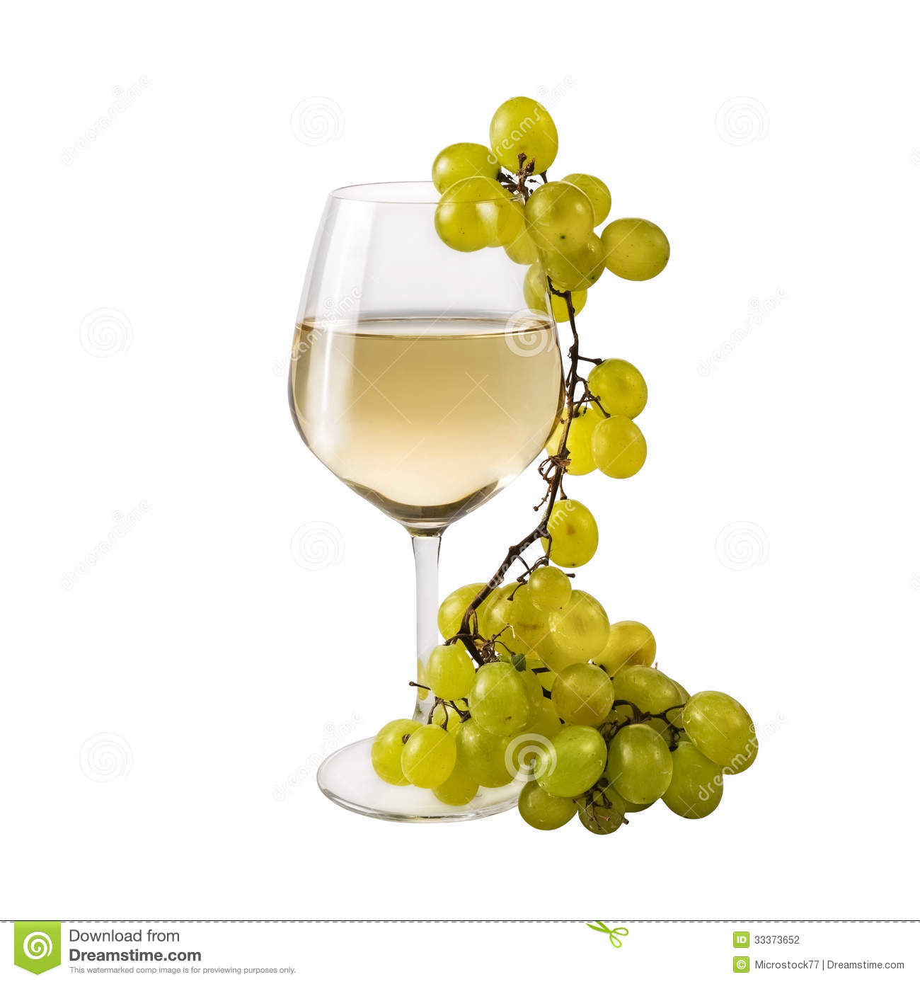 Wine glass white grapes stock photography image 33373652 for Cocktail 0 base de vin blanc