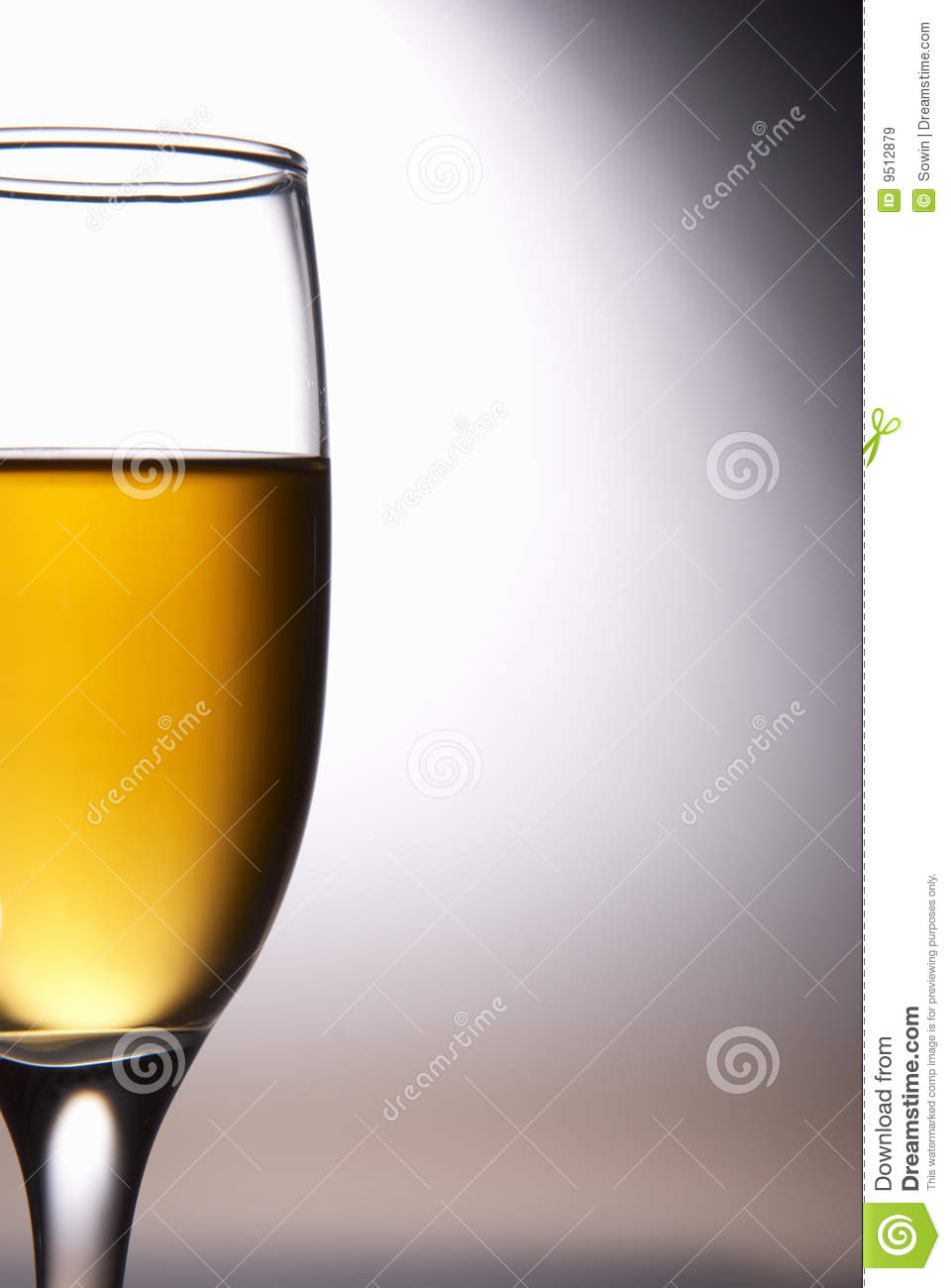 Wine glass with wine of colour of amber