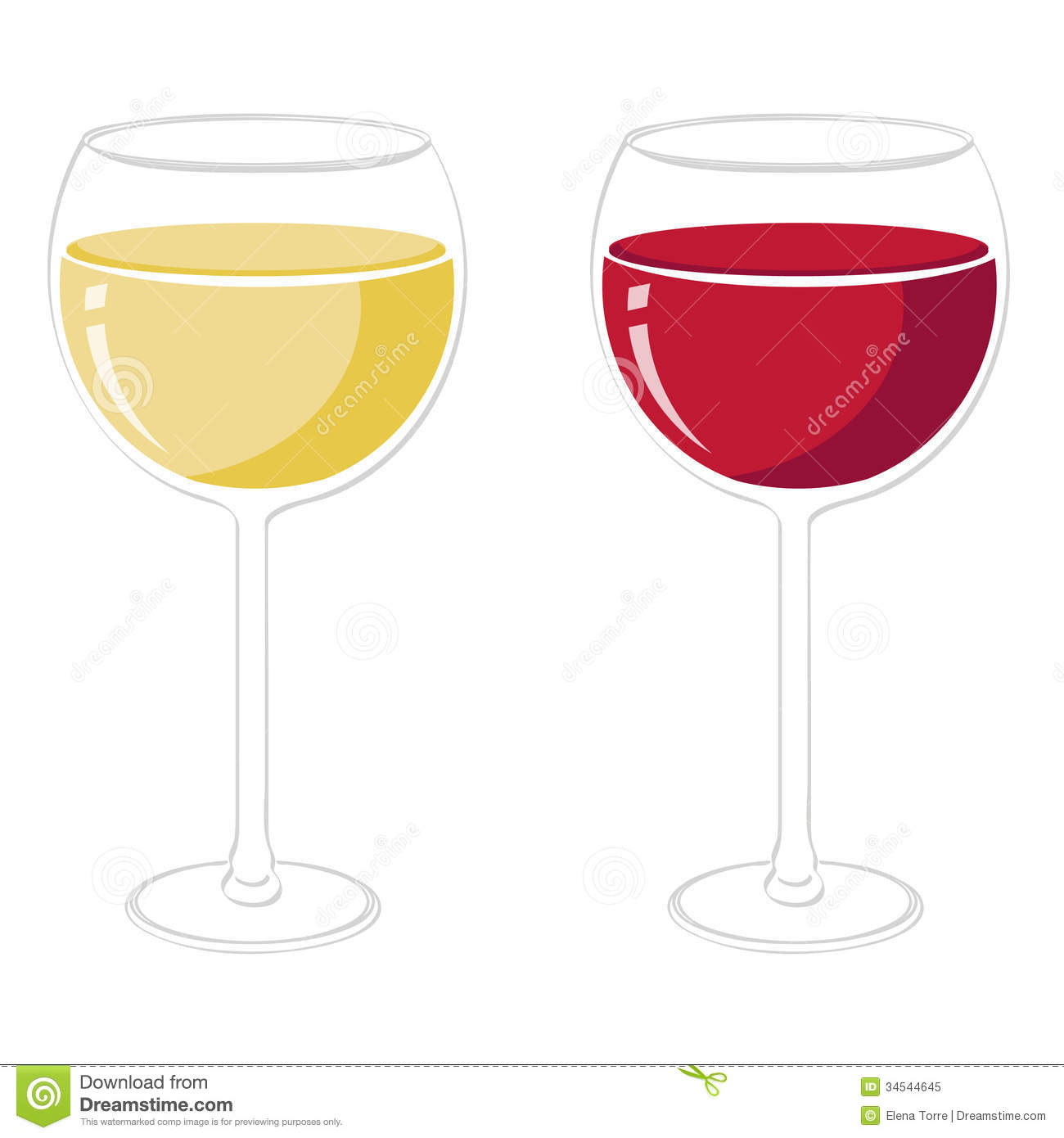 Illustration of red and white wine glasses isolated + vector eps file.