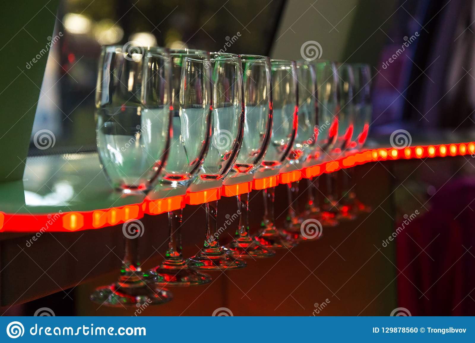 Wine glasses in the limmusine with backlight 2