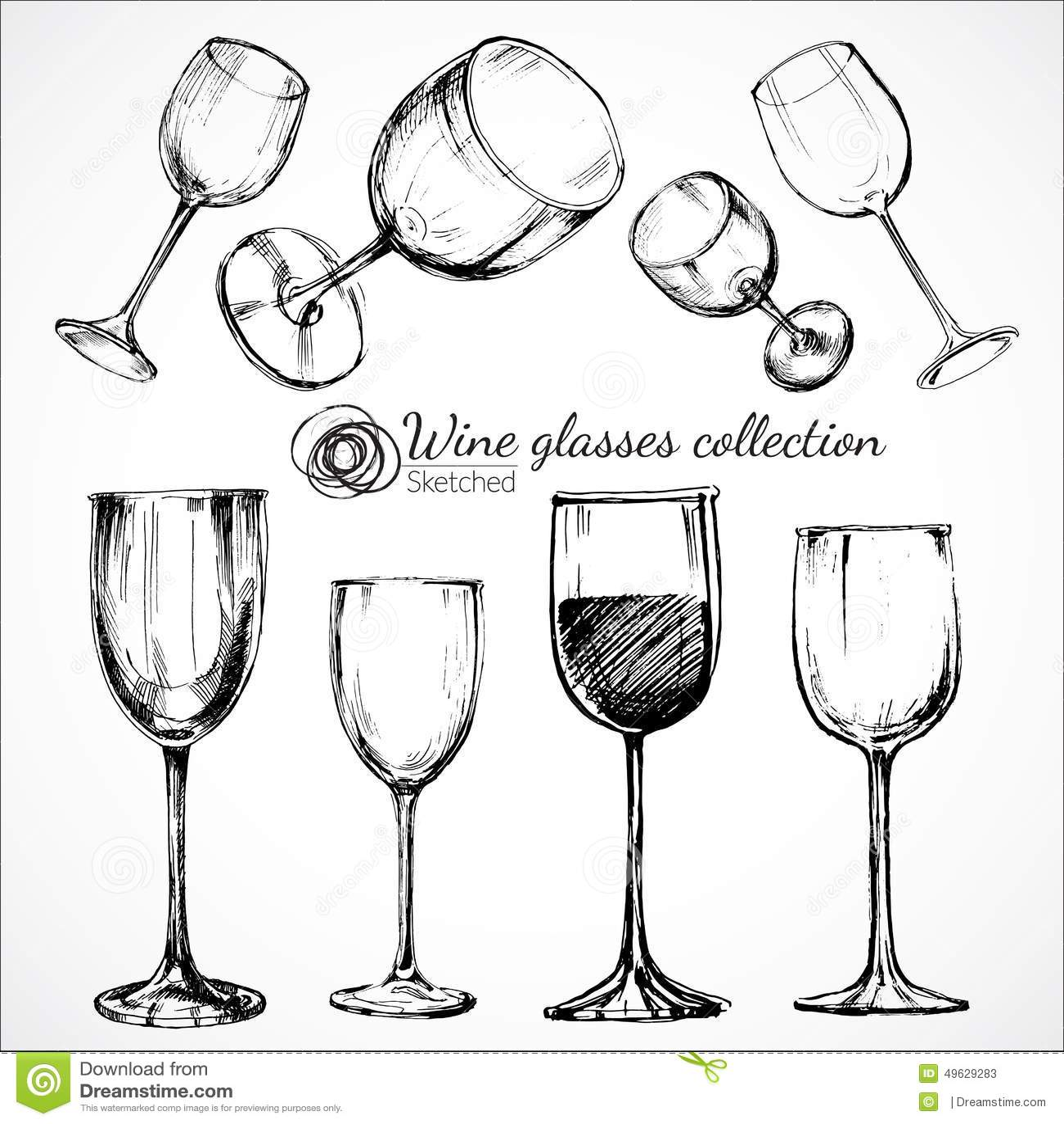Wine Glasses - Sketch Illustration Stock Vector - Image ...