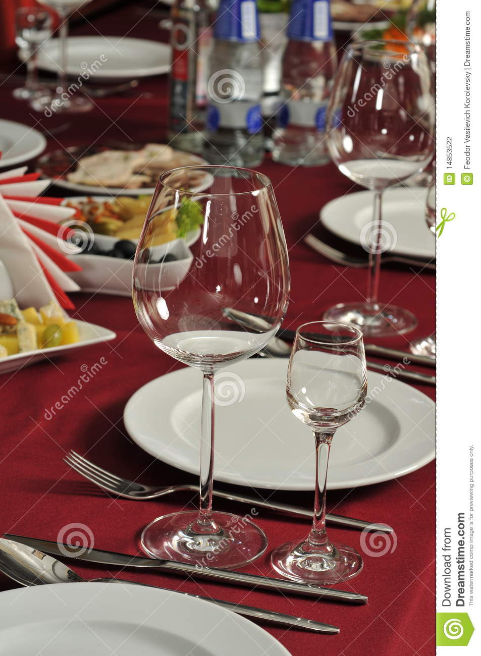 Wine glasses on a table at restaurant.