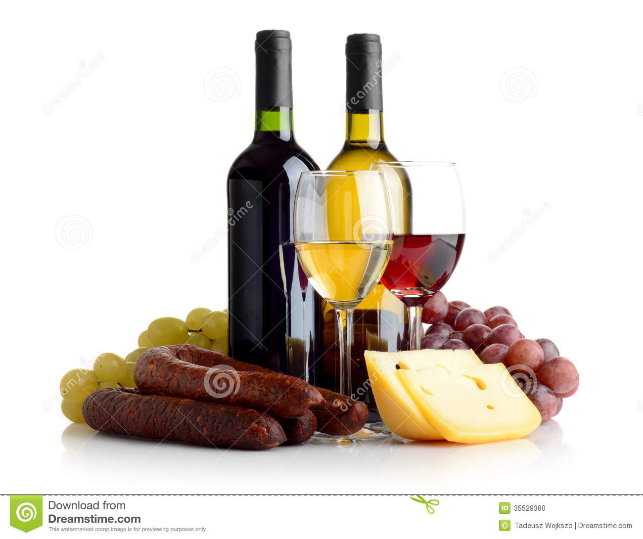 Wine, Grapes, Cheese An Sausage Isolated On White Stock Photo - Image ...