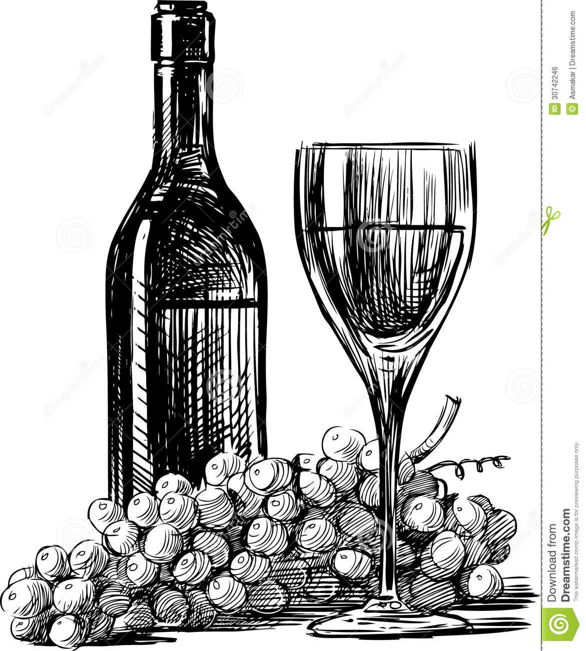 wine and grapes stock vector image of sketch isolated