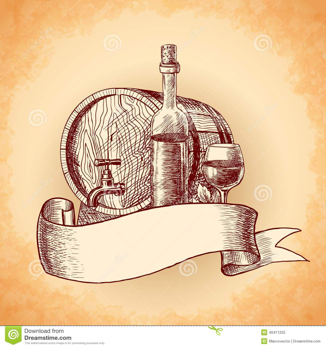 Wine Hand Drawn Background Stock Vector - Image: 40411255