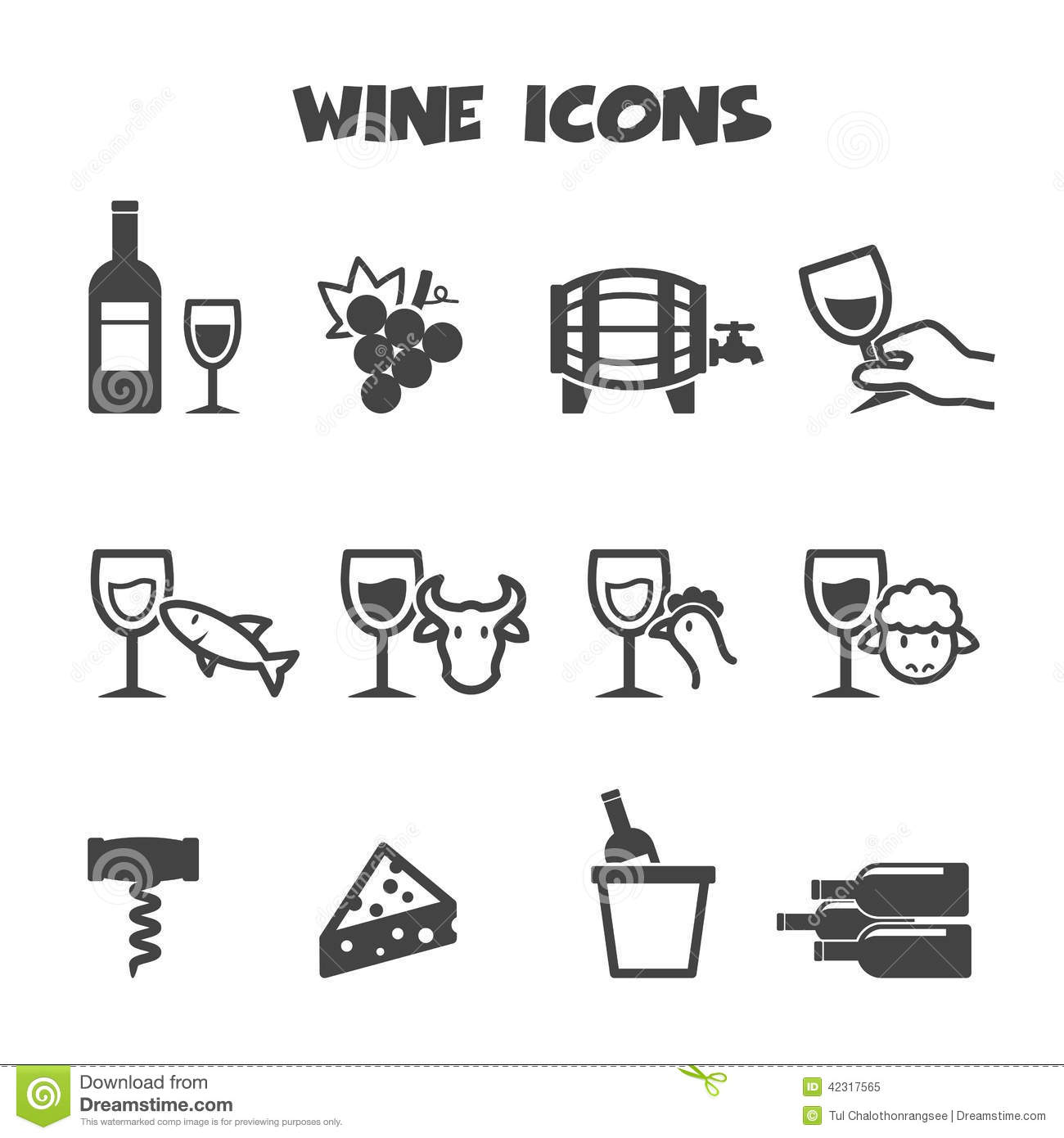Wine Icons Stock Vector Image 42317565
