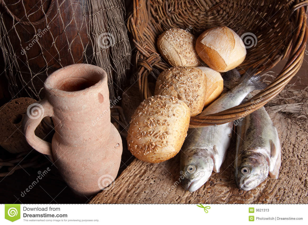 Wine jug with bread and fish stock photos image 9621313 for Fishing with bread