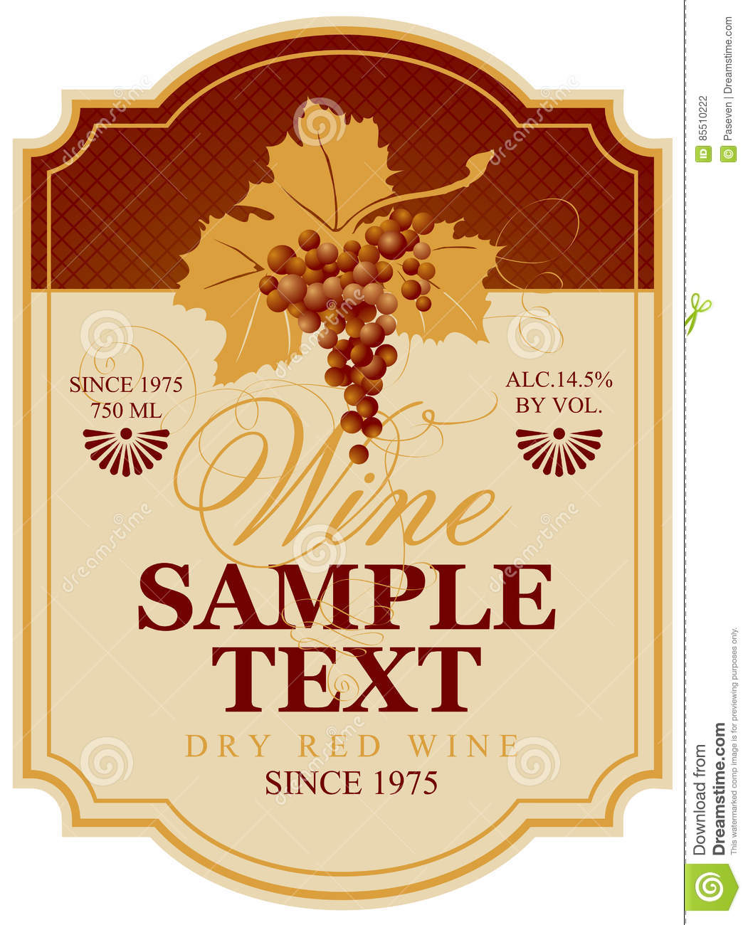 Wine Label With Bunch Of Grapes Stock Vector