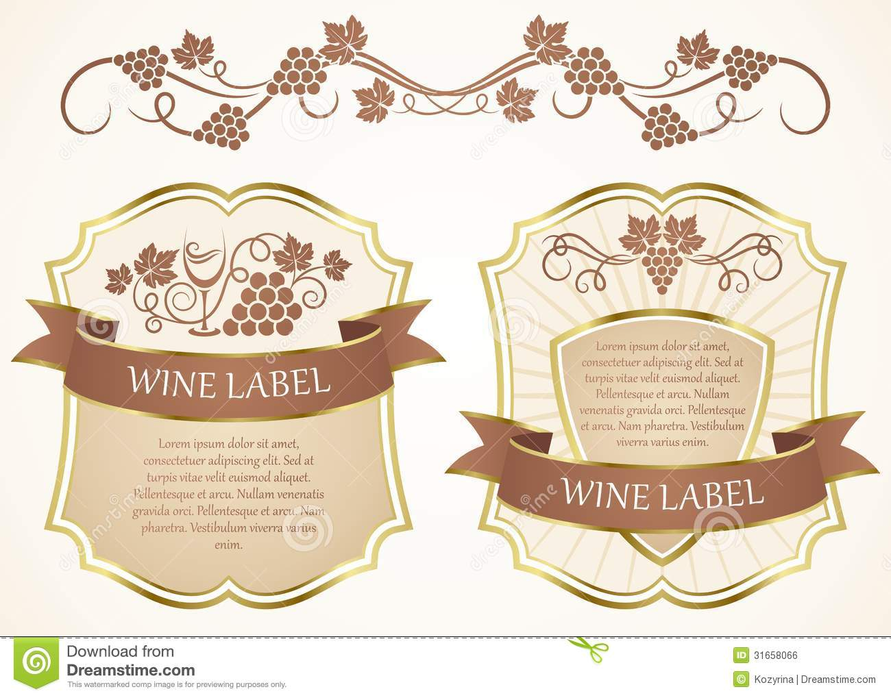 Wine label stock vector. Illustration of alcohol, background - 31658066