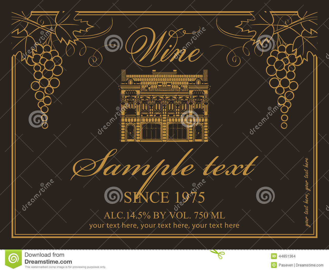 Wine label stock vector image 44851364 for Classic house labels