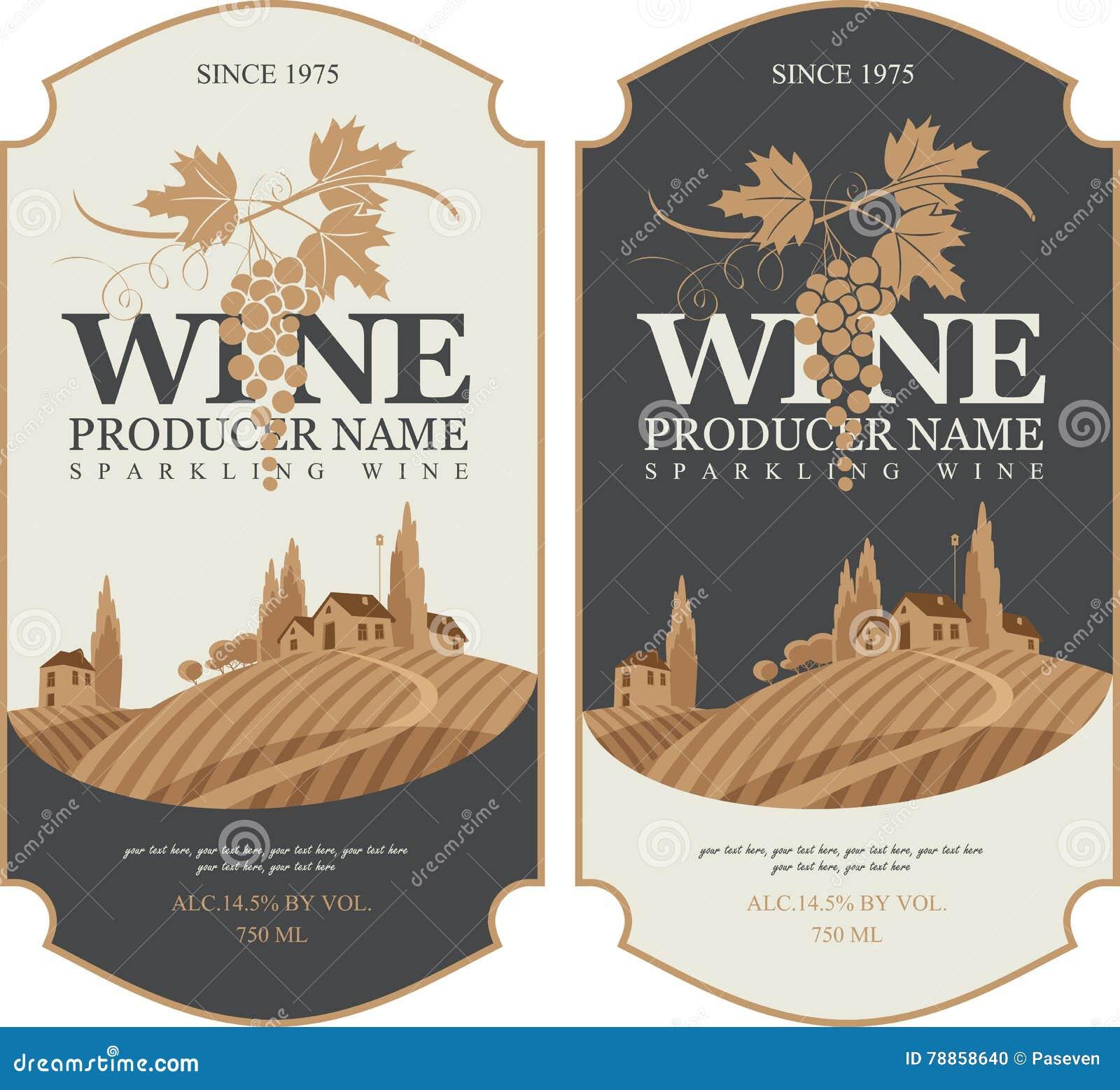 Wine Labels With Landscape Of Vineyards Stock Vector Illustration Of Road Bottle 78858640