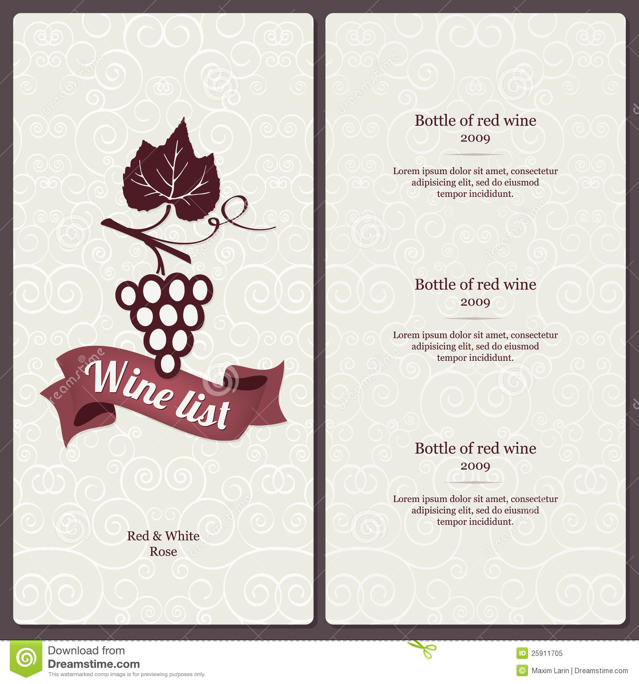 Wine List Design Royalty Free Stock Photo Image 25911705