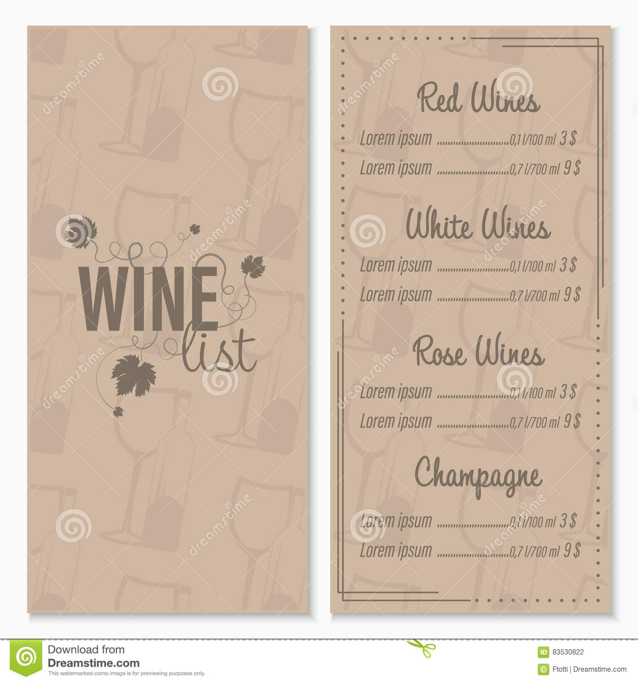 how to create wine list menu