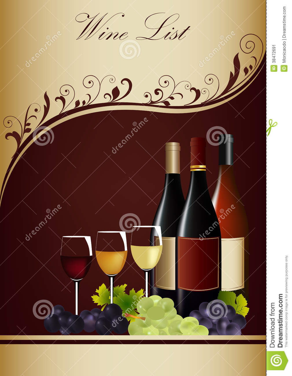Wine List Menu Stock Image Image 38472691