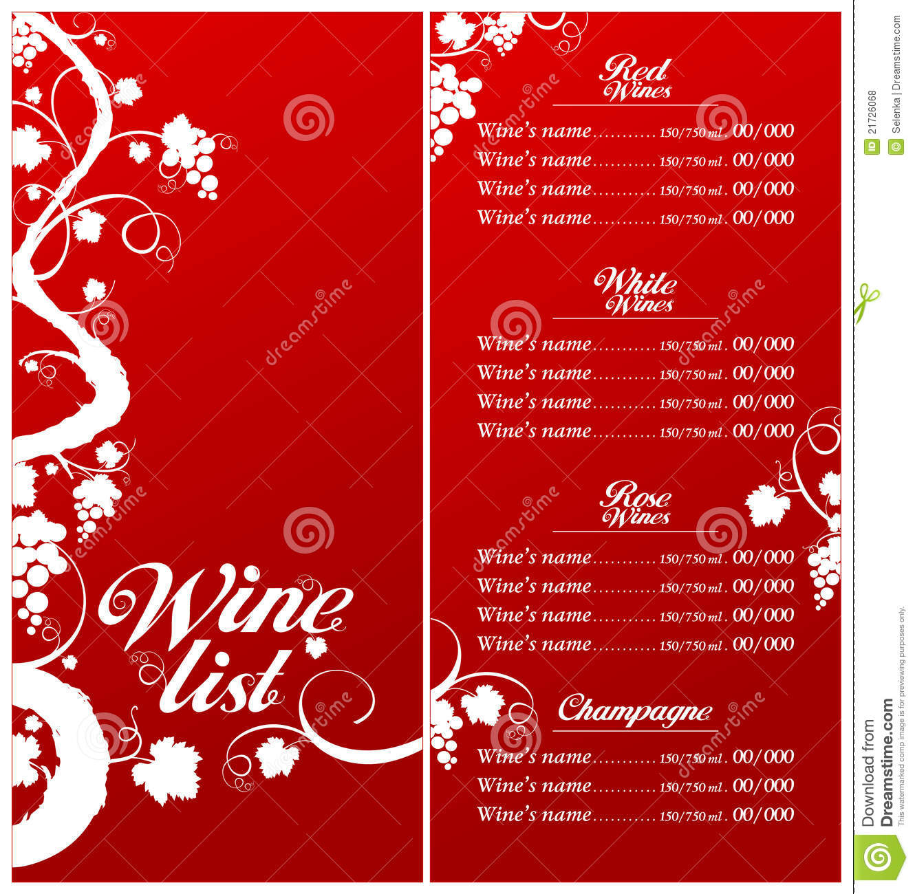 free wine list menu template