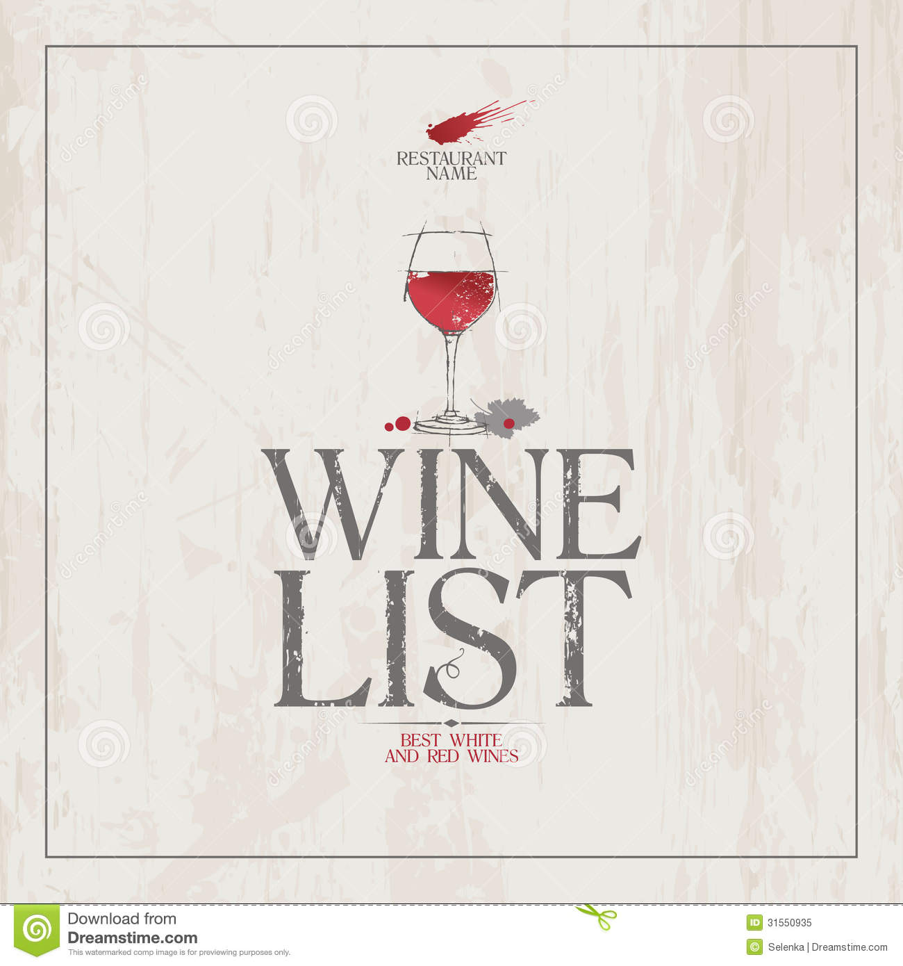 Wine List Menu template. stock vector. Image of list - 31550935