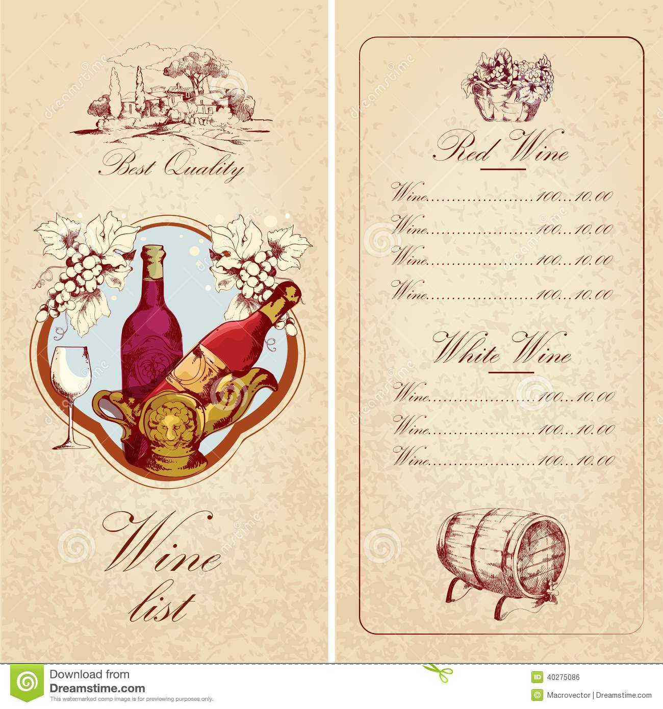 Awesome Wine List Template Ideas Free Wine List Template
