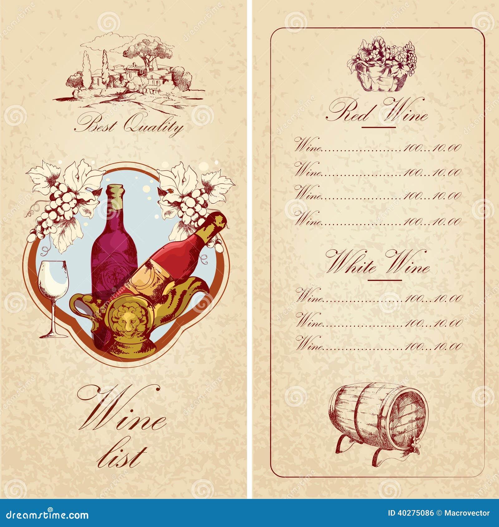 wine list template stock vector image 40275086. Black Bedroom Furniture Sets. Home Design Ideas