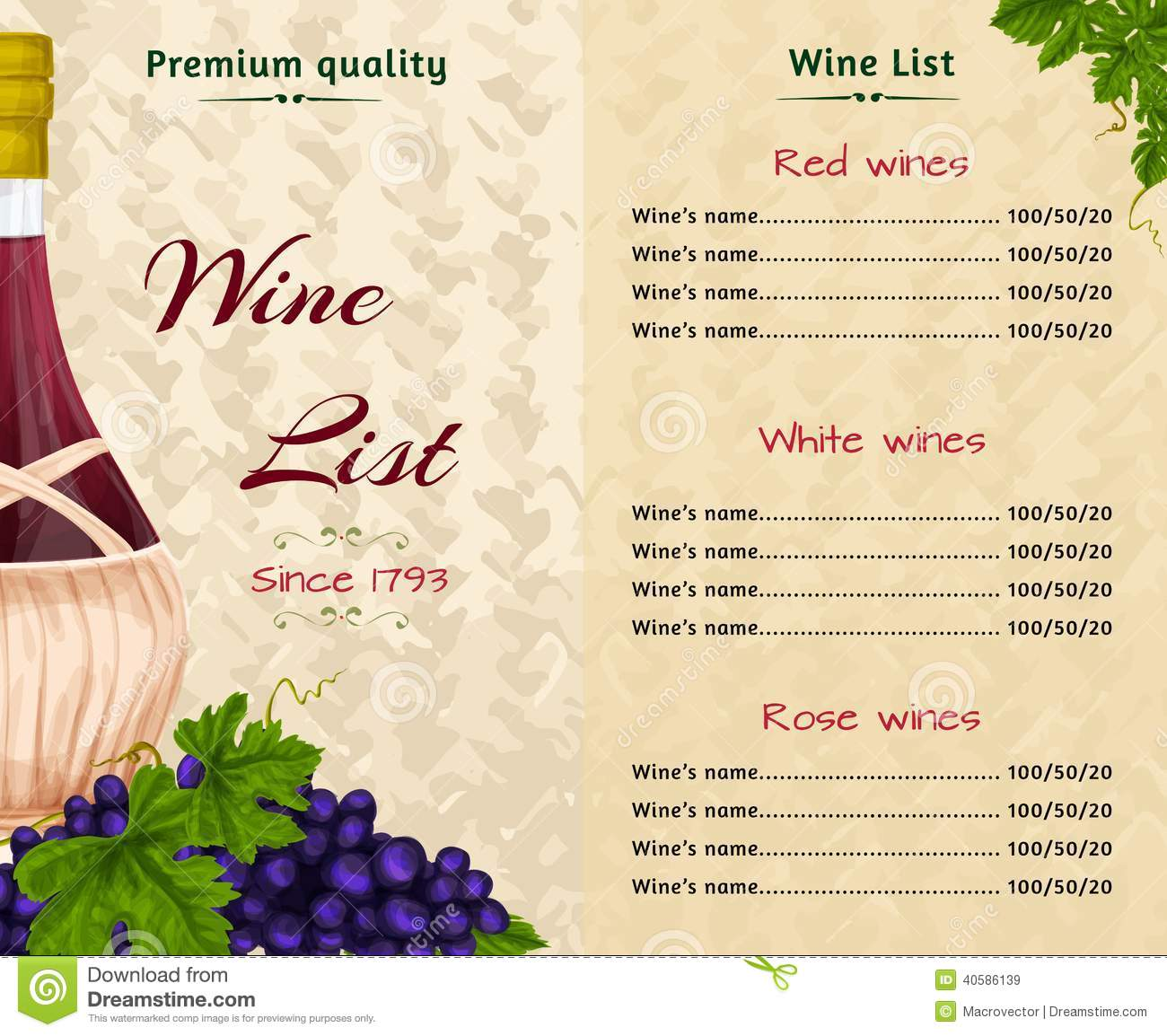 Wine List Template Illustration 40586139 - Megapixl