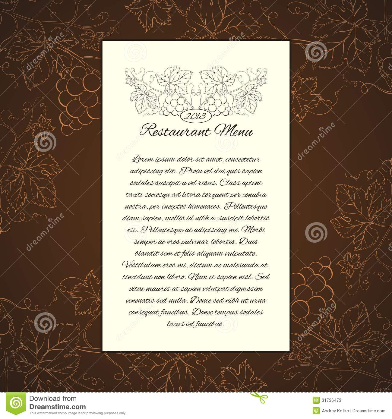 wine menu card template stock vector illustration of healthy 31736473. Black Bedroom Furniture Sets. Home Design Ideas