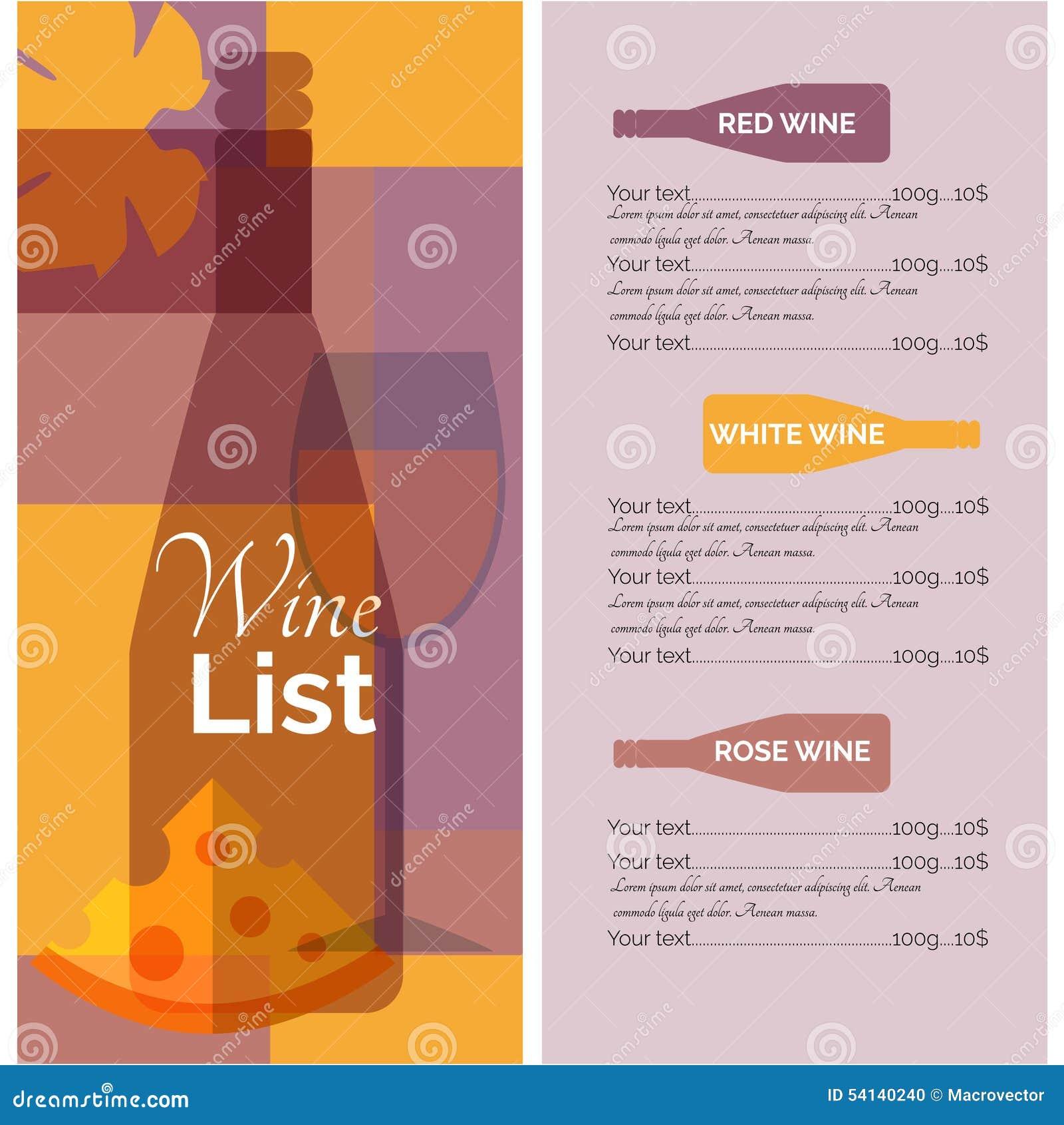 Wine Menu List Stencil Print Stock Vector - Image: 54140240
