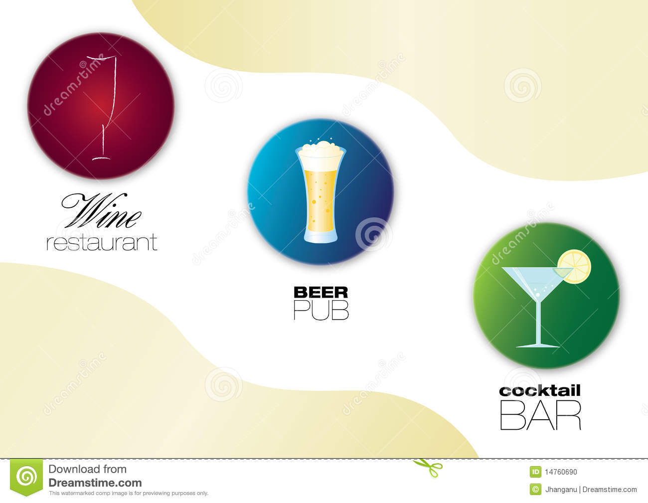 Wine Restaurant Beer Pub And Cocktail Bar Icons Stock