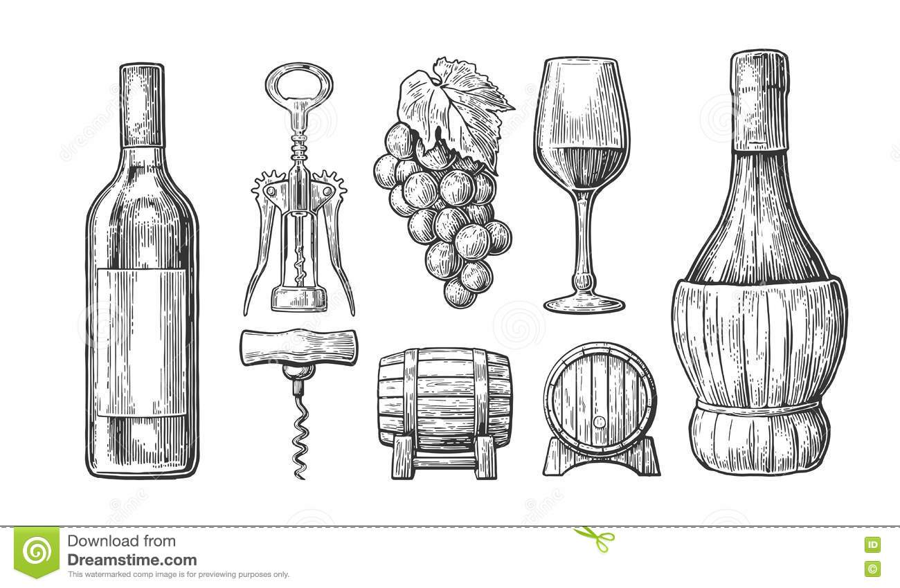 Bottle Glass Corkscrew Barrel Bunch Of Grapes Black Vintage Engraved Vector Illustration On White Backgrou