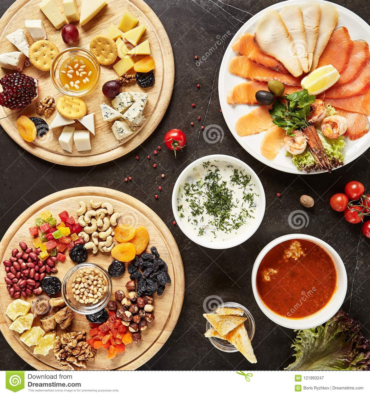 Wine Snack Mix With Cheese Plate And Nuts Dish And Salmon Plate Stock Image Image Of Camembert Table 121993247