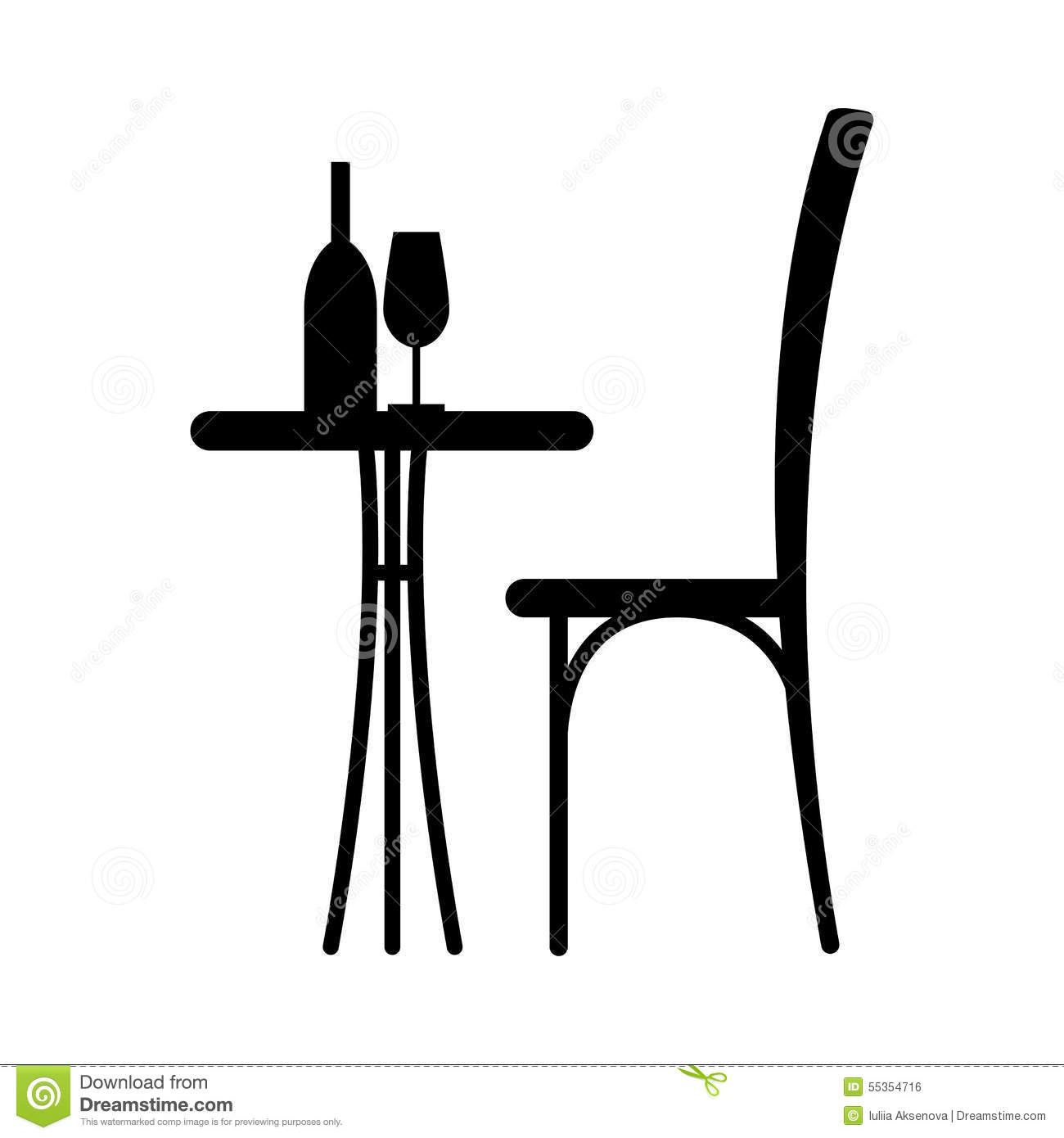 Wine on the table stock vector Image of furniture date  : wine table chair silhouette silhouette cafe glass chair him 55354716 from www.dreamstime.com size 1300 x 1390 jpeg 64kB