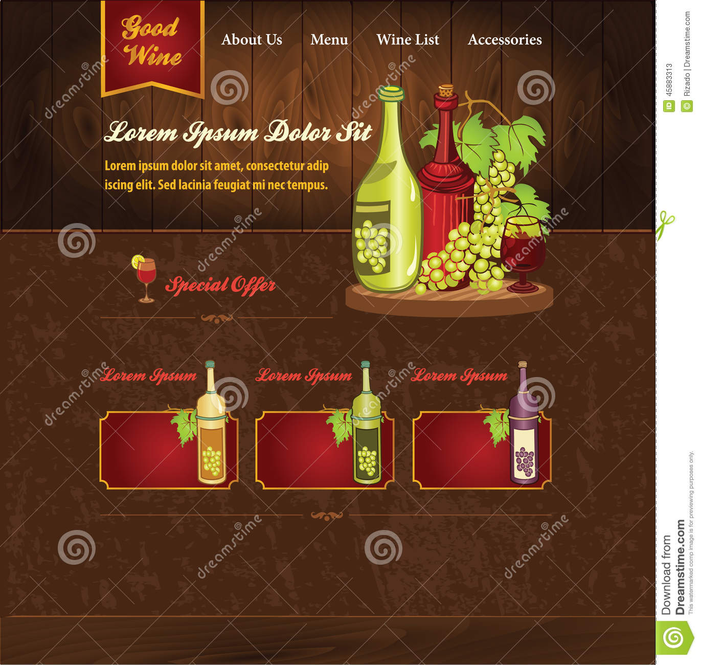wine template for website stock vector illustration of grape 45883313