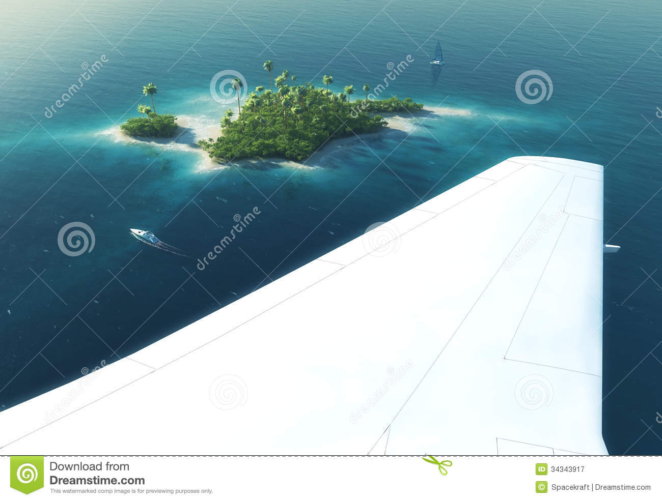 Tropical Island Beach Ambience Sound: Wing Of An Airplane Flying Above Paradise Tropical Island