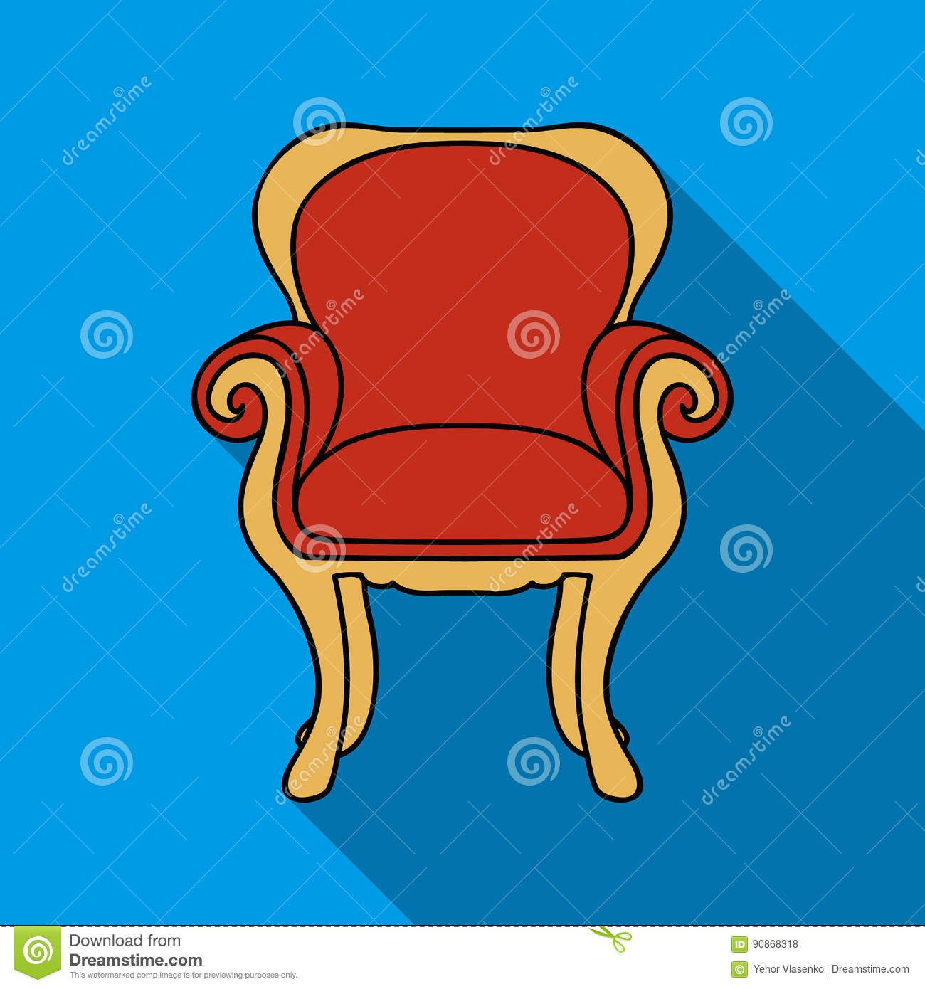 Wing Back Chair Icon In Flat Style On White Background Furniture