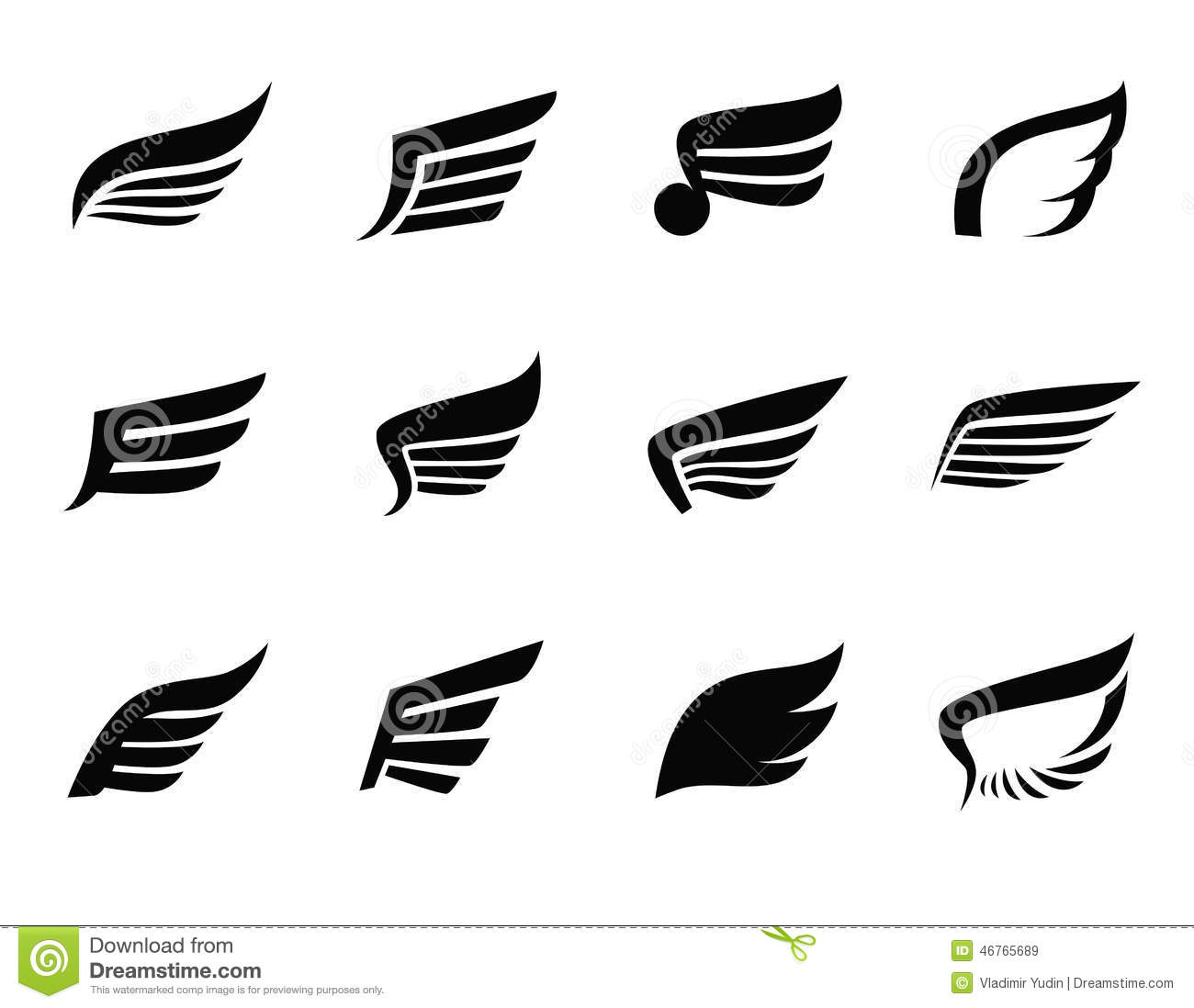 Vector black wing icon on white background.