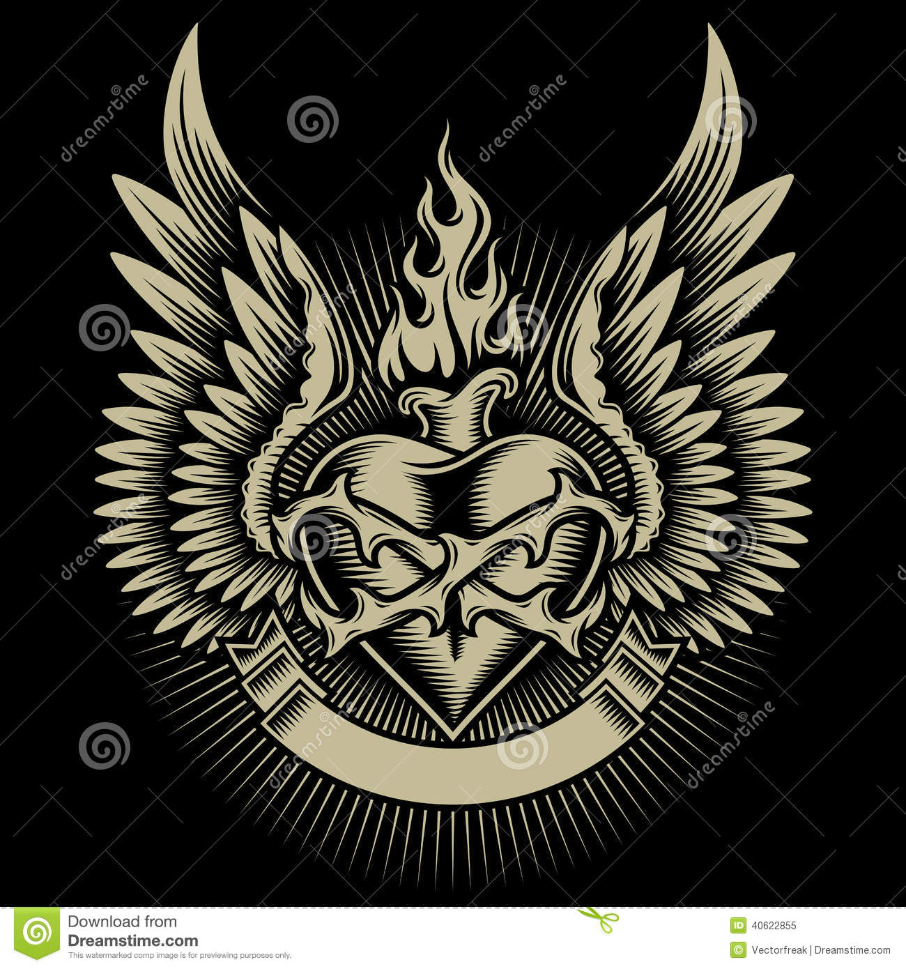 winged burning heart with thorns stock vector image