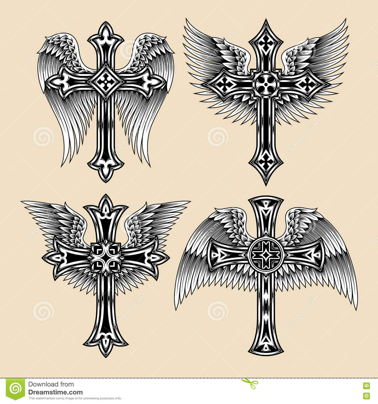Winged Cross Set Stock Vector Illustration Of Pattern 76678712