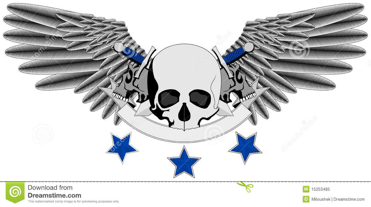 winged human skull logo with swords stock vector image